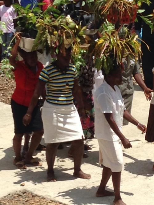 Offertory procession last Wednesday at the dedication of the new St. André's School in Mithon, Haiti. You should have heard the choir! (Matthew Cole, Diocese of Indianapolis)