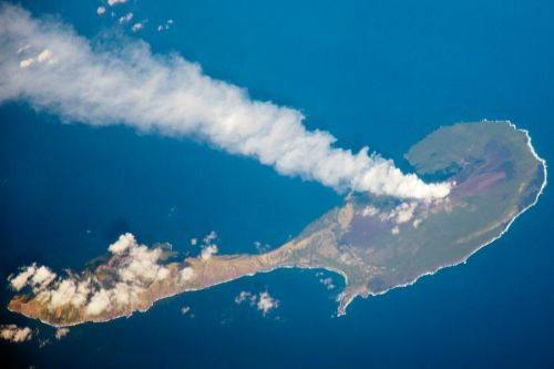 Volcano on Pagan Island in the Northern Marianas. (National Aeronautics and Space Administration)