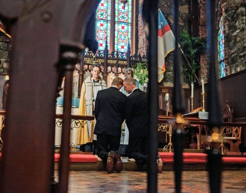 "We ask your prayers this morning for our members Tom and James, whose civil marriage some years ago will be blessed today at the Church of St. Mary Magdalene, Toronto, with prayers and glorious music. May their minds register images like the one above: Randy Florke and Sean Patrick Maloney were married in June at St. Mary-in-the Highlands, Cold Spring, New York. This photo by Lauren Lancaster in The New York Times is many people's idea of what a wedding should look like, whatever the gender of the partners: in the church, with a priest, at the altar, with family and friends to hear their vows. Tom and James, like Randy and Sean, have waited years for the Church's blessing. Let us pray in the collect that ""we all may be made one in the heavenly family of your Son Jesus Christ our Lord."""
