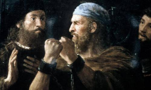 Agabus binds his hands and feet to deliver his prophecy to St. Paul. (Christopher C. Randolph blog)