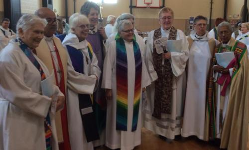 The U.S. Presiding Bishop Katharine Jefferts Schori, fourth from left, among the VIPs at the 40th anniversary celebration in Philadelphia. (The Rev. Sandye A. Wilson)