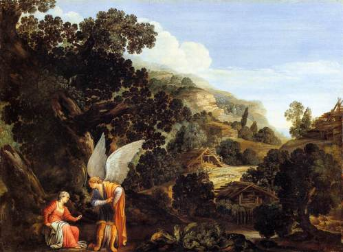 Carlo Saraceni, c. 1610: An Angel Appearing to the Wife of Manoah (Kunstmuseum Basel)