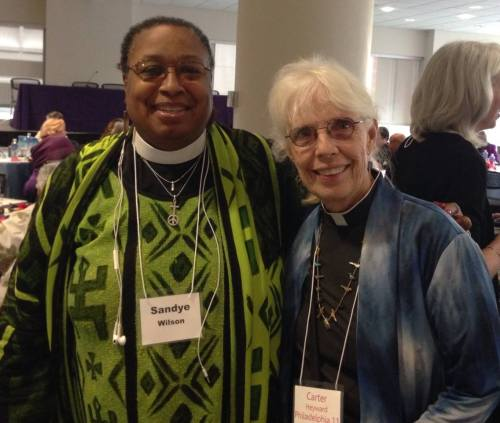 "The Revs. Carter Heyward, right, and Sandye A. Wilson July 26 at the celebration in Philadelphia of the 40th anniversary of women's ordination to the priesthood. Dr. Heyward was one of the ""Philadelphia 11."" (Facebook)"