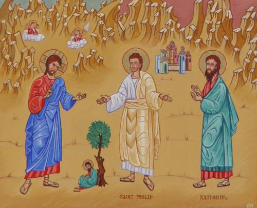 Jesus Calling Philip and Nathanael; notice the little guy sitting under the fig tree. (iconographer unknown)