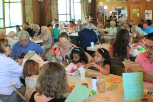 "Union Presbyterian in Endicott, New York has been running ""Messy Church"" several times this summer in the fellowship hall. It's an intergenerational program, begun in the UK and now spreading to the U.S., of Bible lessons, songs, food and crafts especially for children, but fun for adults too. Stuffiness and formality are impossible when they're having Messy Church. (The Rev. Patricia Raube on Facebook)"