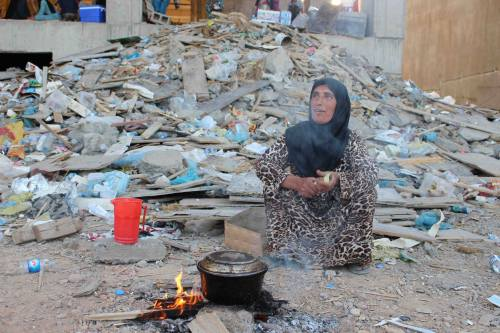 There are many ethno-religious groups in Iraq besides Yazidis being removed, tortured and killed in the fighting; here is a Shabak woman trying to exist amidst the rubble. People need food, water, medical care, clothing, shelter – and basic human rights. We may naturally be most concerned about Christians in Baghdad, Mosul and elsewhere, but the suffering crosses every tribe and faith system. The Presiding Bishop of The Episcopal Church declared today a day of prayer for all of them, in Iraq and across the region. (Canon Andrew White on Facebook)