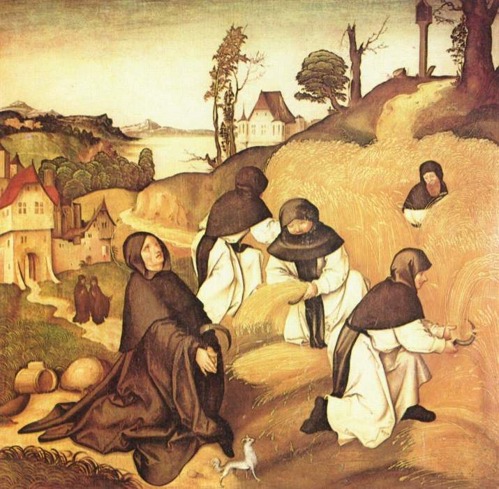 Jörg Breu the Elder, 1500: Cistercians at Work, detail from the Life of St. Bernard. Don't get the idea he was just a farmer, though; his writing made him one of the most influential figures in Christendom, an opponent of controversies, a troubleshooter to a pope. But his sponsorship of the Second Crusade ended in disaster.