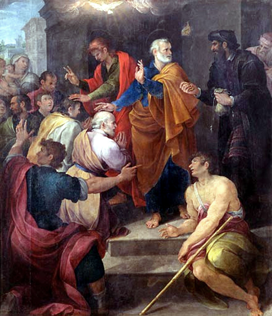 """Avanzino Nucci, 1620: St. Peter's Conflict with Simon Magus (Simon the Magician). The following episode, about buying spiritual power and church preferment, gave rise to the term """"simony."""""""
