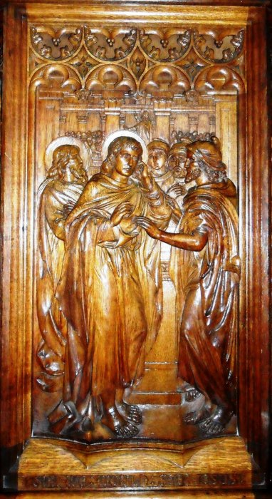 Pulpit carving of St. Philip at his namesake church in Leicester, England. He is renowned as a preacher and evangelist. (Fr. Patrick Comerford)