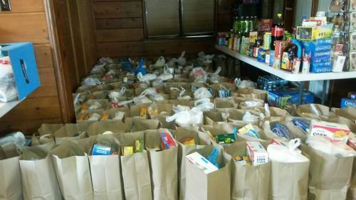Bags of groceries ready for distribution at St. Stephen's Food Pantry in #Ferguson, Missouri, which had to close during the recent racial unrest, leaving hundreds of people without supplies. Our Missioner, Dr. Maria L. Evans, was just one of many who loaded up and went there to help on Friday. (via Facebook)