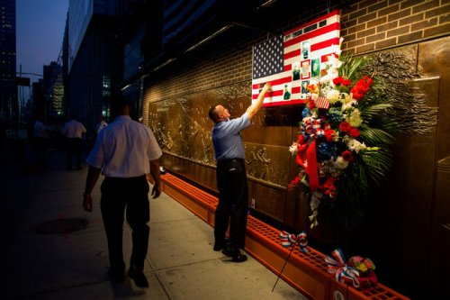 9/11 Memorial Wall for members of F.D.N.Y. (Craig Ruttle/Associated Press