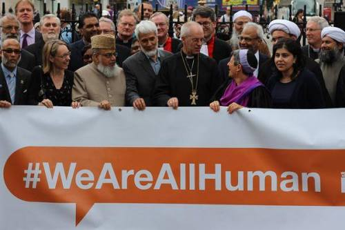 Justin Welby, the Archbishop of Canterbury, protesting ISIS last Wednesday in central London with Jewish, Muslim and other faith leaders. Two nights ago we showed a video of him with Middle Eastern church leaders that same morning, calling for prayers for Christians and other religious minorities in Iraq and throughout the region.