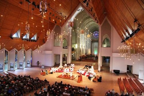 And here is the result in Auckland: they got rid of the bridge which connected the old and newer sections of the Cathedral, as well as the giant pink lotus overhead. Now people can see all the way from the worship space to the High Altar. A crowd of 400 attended Evensong last Sunday to praise God. (Anglican Taonga)