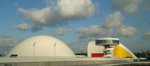 The Centro Niemeyer in Avilés, Spain, a performing arts complex where the video performance above took place. (Wikipedia)