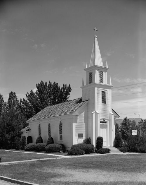 This photo of Christ Chapel in Boise contains a great deal of history of the Episcopal Church in Idaho. The chapel was the original St. Michael's Church, which rebuilt and is now the cathedral a few blocks away. The parish also established two major city institutions: St. Luke's Hospital and a school for girls, St. Margaret's Hall, which evolved into Boise State University – on whose campus sits this chapel, a national historic site. (Duane Garrett/Library of Congress)