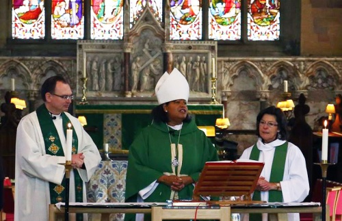 The Rt. Rev. Gayle Harris, Suffragan Bishop of Massachusetts, became the first woman bishop to preach and preside at a service in Wales August 31, at St. Asaph's Cathedral in Denbighshire. (Nathaniel Ramanaden via Episcopal News Service)