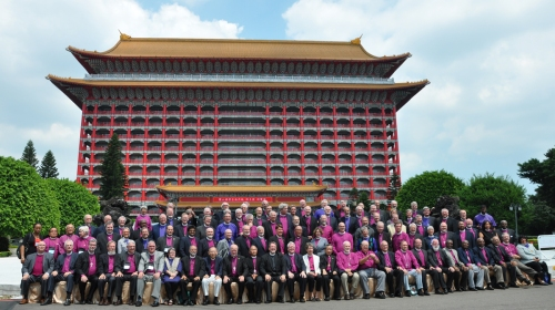 The House of Bishops of the 17-nation Episcopal Church is meeting this week at the Grand Hotel in Taipei, Taiwan, learning about mission in Asian contexts (including Japan, Pakistan and the Philippines), enjoying the food and trying to escape the heat; it was over 100º F. when they took this picture. The Bishop of Taiwan has waited 12 years to host one of these meetings, instead of always having to fly halfway around the world himself; finally, they came to him. (Mary Frances Schjonberg/Episcopal News Service)