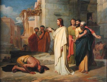 Jean-Marie Melchior Doze, 1864: Jesus Healing a Leper. Most artists, in treating this episode, focus more on depicting the man's skin disease, while this painter illustrated his reverence and humility. (Musée des Beaux-Arts, Nimes, France)