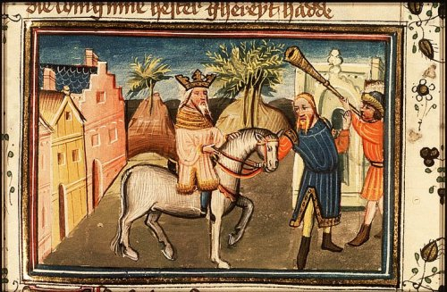 Azor Masters, 15th century: Mordecai Led Through the City by Haman (Royal Library, The Hague)