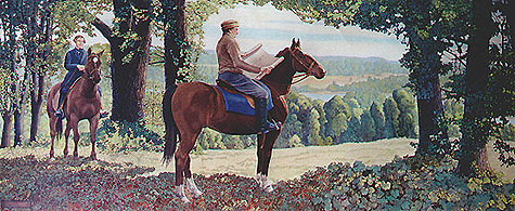 "Norris Rahming, 1943: Bishop Chase Selects the Location for Old Kenyon. In this WPA mural by a Kenyon College art professor, Chase is depicted with his lawyer Henry B. Curtis, who recalled that they left the horses behind halfway up Gambier Hill and had to climb the rest on foot. When they got to the top they could see miles of beautiful valley below, whereupon Chase exclaimed, ""Well, this will do!"" (Papers of Philander Chase at Kenyon College)"