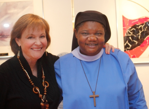 The Rev. Elizabeth Geitz, left, an American priest and author, with Sr. Jane Mankaa of the Benedictine Sisters of Bethany in Cameroon. The Sisters operate a home for some of the 50,000 Cameroonian children orphaned by the AIDS epidemic. (Ken Baumel)