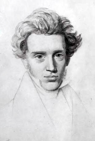 "Søren Kierkegaard, by Niels C. Kierkegaard, around 1840. Søren was a depressed, unhappy child who grew into a positively miserable adult, but overcame the meaninglessness of life and its certainty of death by making a ""leap of faith"" to embrace the teachings and manner of life of Jesus Christ – which were nothing like what Kierkegaard found in the Church of Denmark. The Lutheran state church, he believed, was a deceptive, bourgeois accomodation with the petty financial, social and political interests of the elite, and only appeared to teach Christianity; while a person could discover God and live as God intends, fully embracing humanity and the self, by taking action that conforms to God's will."