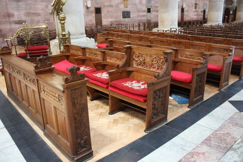 The royal pew at St. Anne's Cathedral, Belfast, Northern Ireland, a church we will visit in this morning's video. (Wikipedia)