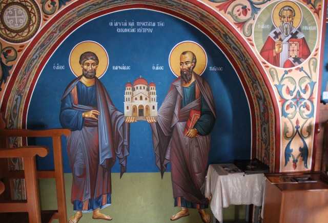 Barnabas and Paul, at the Stavrovouni Monastery on Cyprus. They hold up a church together to indicate that they were co-builders; Paul might never have found the evangelical success he had if Barnabas hadn't vouched for him in Jerusalem.