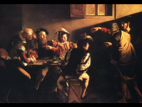 Caravaggio: The Calling of St. Matthew. He is identified with Levi, the tax collector.