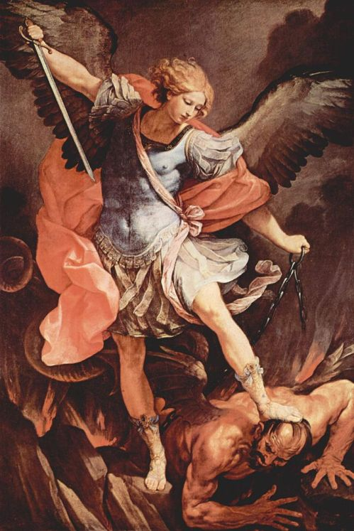 Guido Reni, c. 1636: St. Michael. The most famous of the archangels is mentioned three times in the Bible (Daniel, 1 Thessalonians and Revelation), but today's feast includes the archangels Gabriel and Raphael, as well as all the other celestial beings. (Church of Santa Maria della Concezione, Rome)