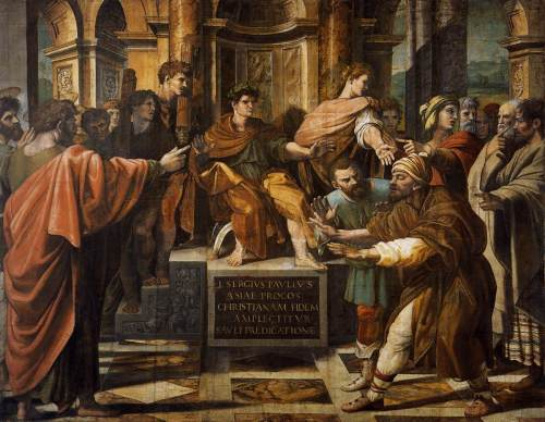 Raphael, 1515: The Blinding of Elymas, also known as the Conversion of the Proconsul, at the Victoria and Albert Museum, London.