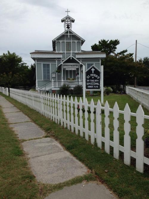 St. Peter's-by-the-Sea, Cape May, New Jersey, a fine example of Carpenter Gothic architecture, so called because any competent carpenter could build one. (The Episcopal Church)