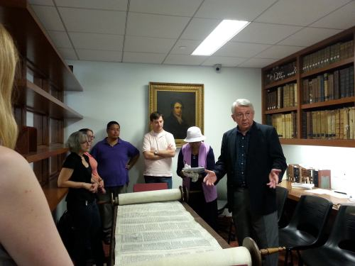 A rare Torah scroll was unrolled and displayed for incoming junior students last week at the General Theological Seminary, New York. It is available for viewing only one day a year. (seminary website)