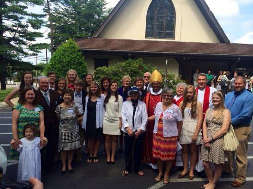 Newly baptized and confirmed members of Trinity Church, Statesville, North Carolina, with their Bishop Michael Curry, who visited September 7 for the parish Rally Day. (Diocese of North Carolina on Facebook)