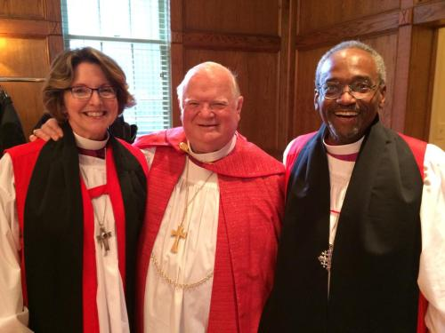 The Bishops of North Carolina: Anne Hodges-Copple, Chip Marble and Michael Curry, at the consecration last month of Brian Seage as Bishop Coadjutor of Mississippi. It was old home week for Bishop Marble, who served as 8th Bishop of Mississippi until 2003. (Diocese of NC)