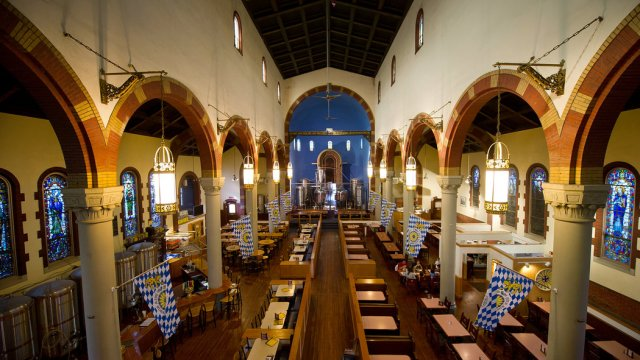 The future of this closed church in Pittsburgh, formerly St. John the Baptist, has already been reimagined: it's now the Church Brew Works. At least this renovation is respectful, a place Jesus might be comfortable hanging out in. (Jeff Swenson/The New York Times)
