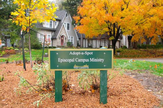 A bit of public landscaping in my hometown is cared for by members of the Chapel of the Good Shepherd at Purdue University. Autumn leaves!