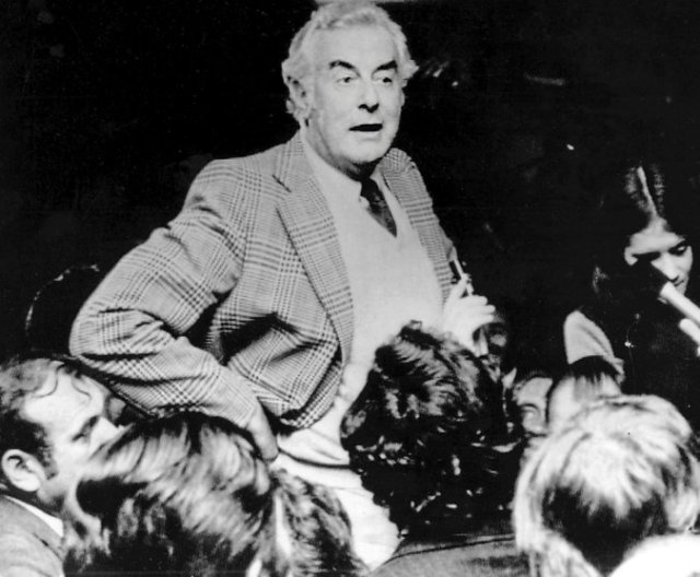 Gough Whitlam has died, the former Labour prime minister of Australia from 1972-75. Though his fall from power was swift and brutal – he was sacked by the royal governor after his budget got stymied by the Liberal opposition – his progressive impact on Australian society was wide and deep. He opened doors to China, formerly considered an enemy state but now Australia's biggest trade partner; opposed South African apartheid, refused to issue visas for a racially segregated rugby team, and oversaw independence for Papua New Guinea. (Associated Press, 1974)