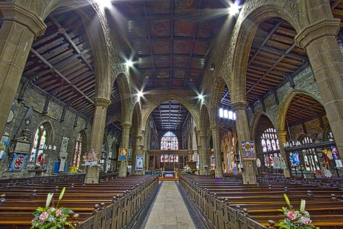 """Halifax Minster in West Yorkshire, England, which we will visit below in today's video. It was completed about 1438, though some parts are older; a church has stood there for 900 years. A """"minster"""" is now an honorary title, bestowed only five years ago on Halifax, but the word derives from """"monastery"""" and formerly designated any large, important church where the clergy lived in community and dedicated themselves to saying the Daily Office. (Michael Beckwith on Wikipedia)"""