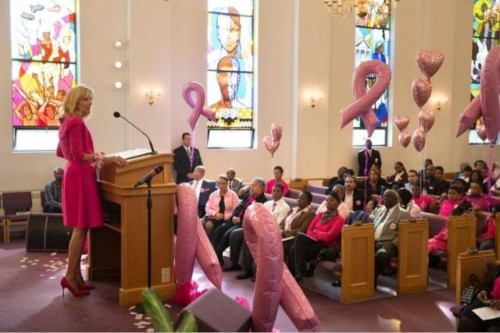 Dr. Jill Biden, wife of the U.S. Vice President, was the guest speaker last Sunday at Covenant Baptist United Church of Christ in Washington, D.C. to promote Breast Cancer Awareness Month. Pink is everywhere these days, from grocery stores to professional football games. (David Lienemann/White House)