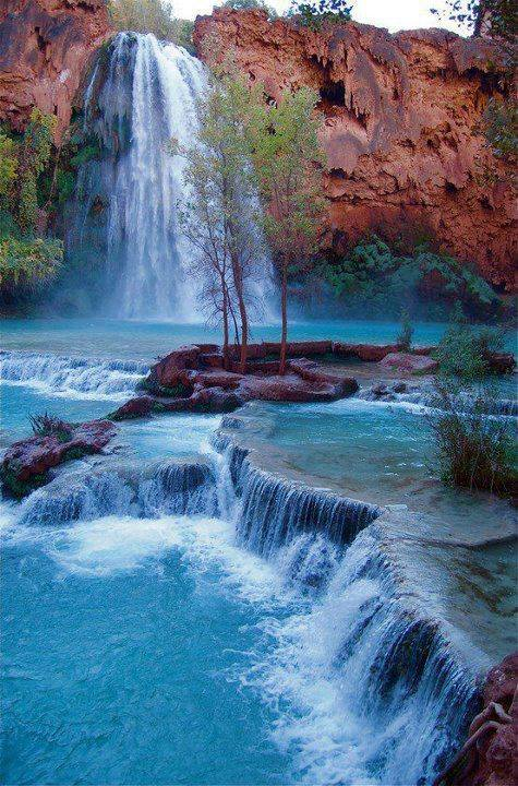 Glorify the Lord, O springs of water, seas, and streams: Lake Havasu Falls, Grand Canyon National Park, Arizona. The waters there are sacred to the Havasupai Indians, whose reservation at the bottom of the canyon borders the national park.