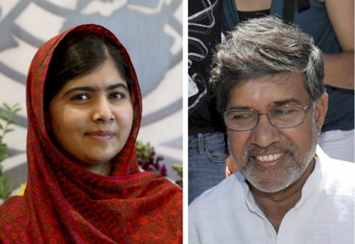 By now you've heard that Malala Yousafzai and Kailash Satyarthi won the Nobel Prize for Peace, she as an advocate for girls' education and he as a leader against the trafficking and enslavement of children. It's wonderful to note this pairing of an Indian Hindu and a Pakistani Muslim. From now on he will be much better known around the world, as any Nobel winner becomes; in this case she lends some of her fame to him. (The Washington Post)