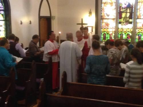 Gospel reading at St. John's, Bedford, last Sunday. (The Rev. Canon Debra Kissinger)
