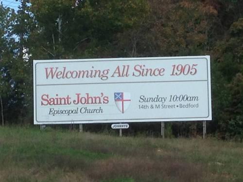 Billboard advertising St. John's, Bedford, Indiana, my late brother Steve's parish. (The Rev. Canon Debra Kissinger)