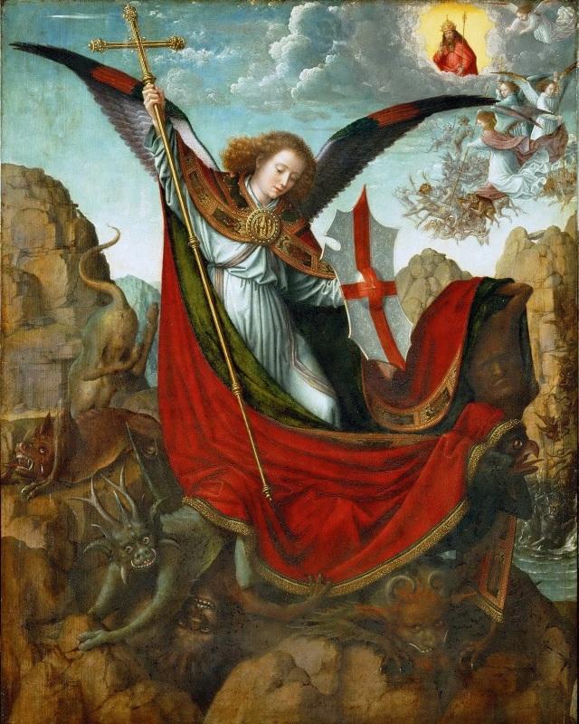 Gerard David, c. 1510: St. Michael Altarpiece, with the devil under his feet. (Kunsthistorisches Museum, Vienna)