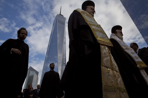 Groundbreaking ceremony last week for St. Nicholas Greek Orthodox National Shrine, across from Ground Zero in New York, the only religious building destroyed on 9/11. Completion is expected in 2017, after years of delay. (Todd Heisler/The New York Times)