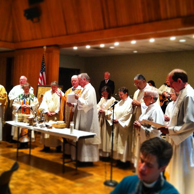 The Diocese of Missouri, meeting in convention at Cape Girardeau this weekend, kicked off its activities with a bang yesterday morning with by ordaining six new deacons. They made quite a crowd at the Communion table. (DioMo)