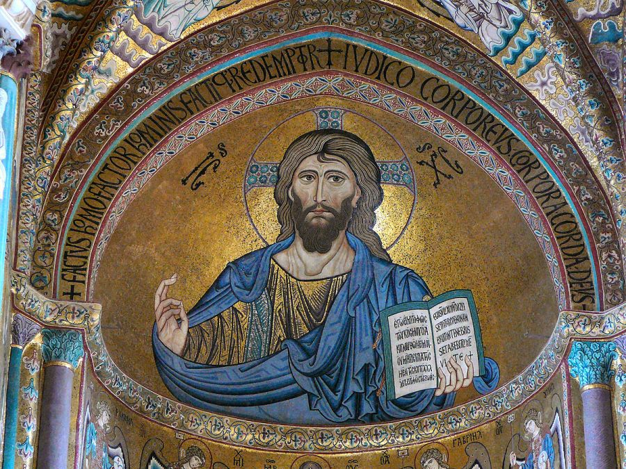 Christ Pantokrator, Righteous Judge and Lover of Humankind. This Byzantine-style mosaic at the Cathedral of Cefalú, Sicily, dates from the 12th century and is based on earlier icons in Constantinople. (Wikipedia)