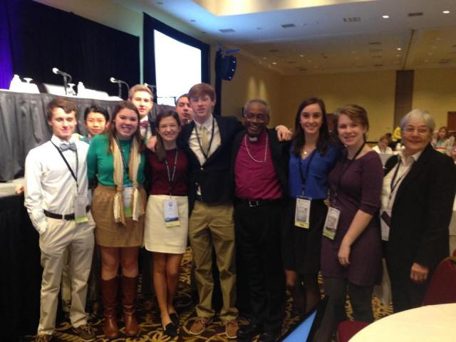 Michael Curry, the Bishop of North Carolina, with youth representatives at diocesan convention (synod) last weekend. (Diocese of NC)