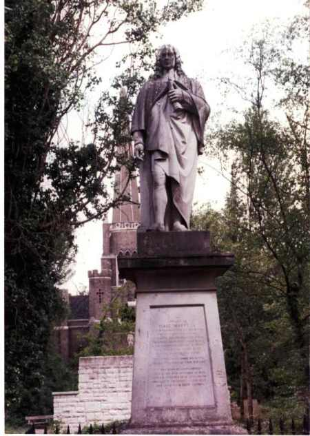 Statue of Isaac Watts at Abney Park, Stoke Newington, England. He lived with his patrons Sir Thomas Abney, the Lord Mayor of London, and Lady Mary for 36 years until the end of his life. He especially enjoyed taking walks in this park at Abney Hall and often sought refuge and inspiration there. (Wikipedia)
